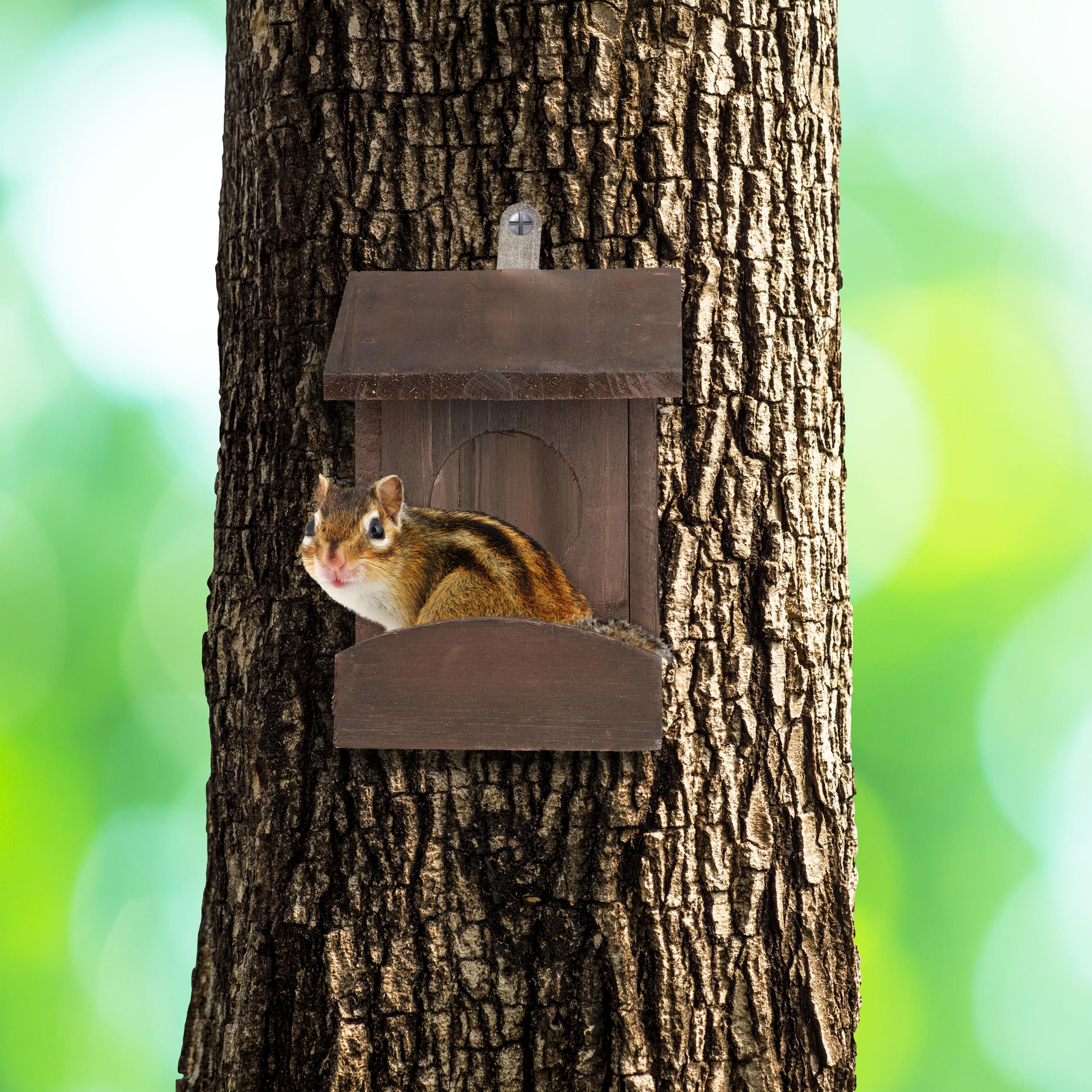 miniatuur 12 - eekhoorn voederhuisje - voederhuis - voederkast - voederbak - hout - voederplek