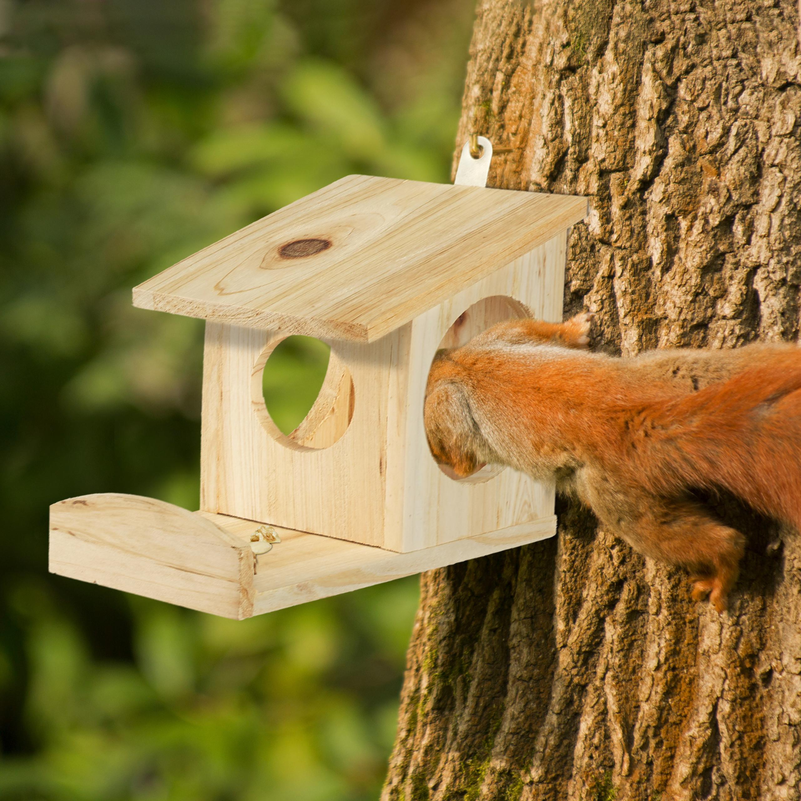 miniatuur 17 - eekhoorn voederhuisje - voederhuis - voederkast - voederbak - hout - voederplek