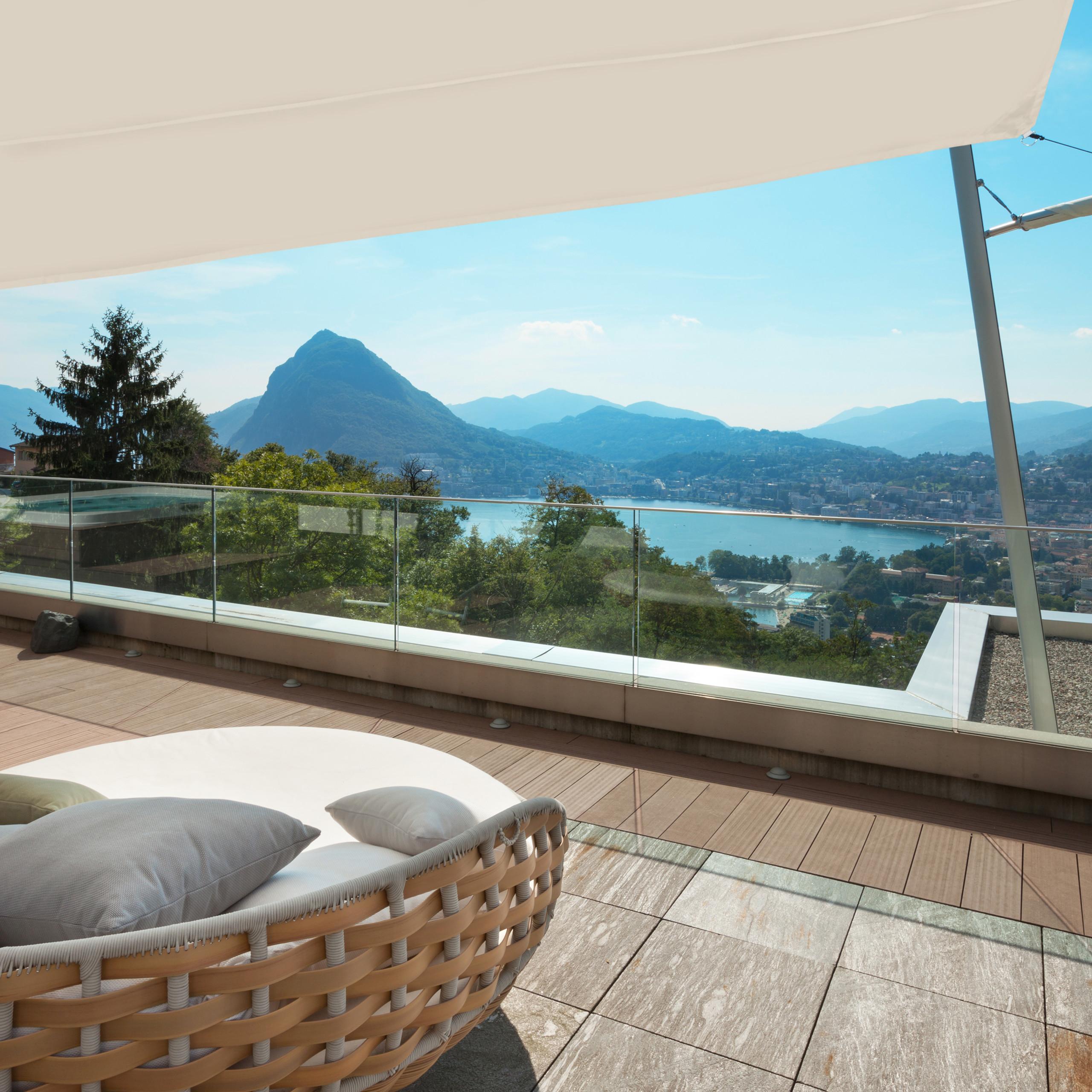 Sonnensegel Balkonsegel Trapez beige Segeltuch Sonnenschutz Segel ...