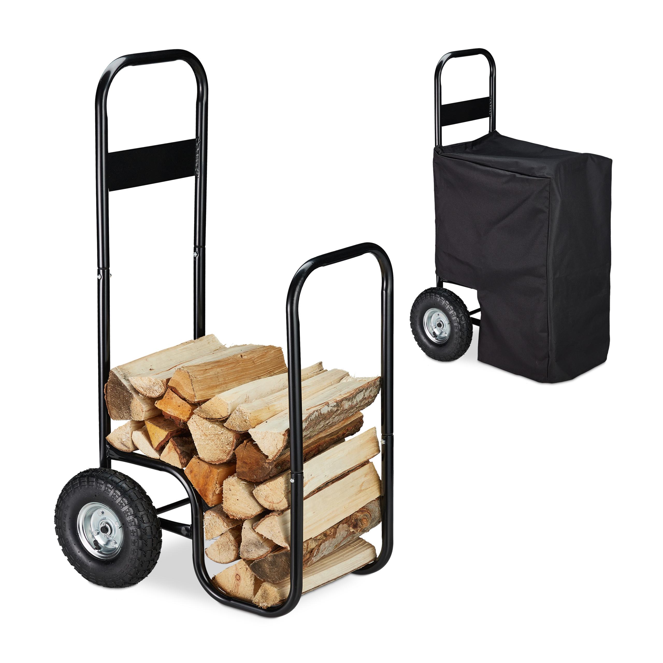 60 kg Relaxdays Carrello Porta Legna in Metallo Carrellino Trasporto Nero Telo Resistente alle Intemperie 2 Ruote