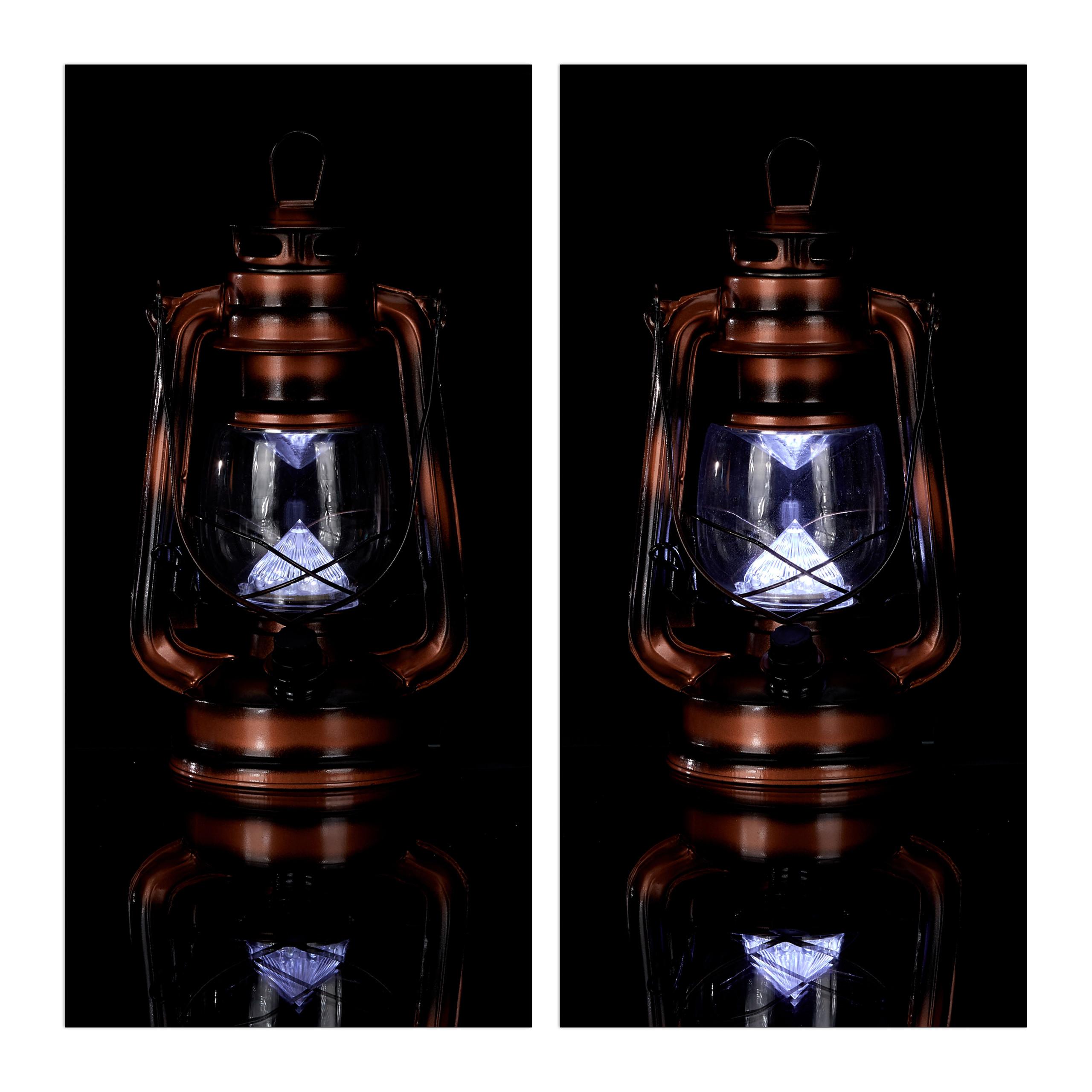 LED Laterne 2 x Sturmlaterne kupfer Gartenlaterne Campinglaterne Sturmlampe
