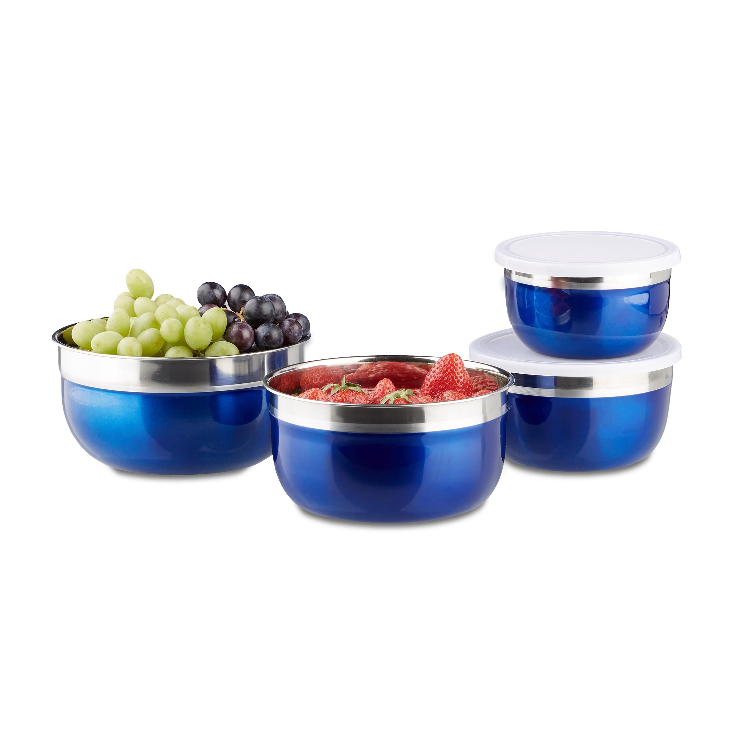 Schüssel Set mit Deckel, 4 Edelstahlschüsseln, Teigschüssel, Küchen Vorratsdosen