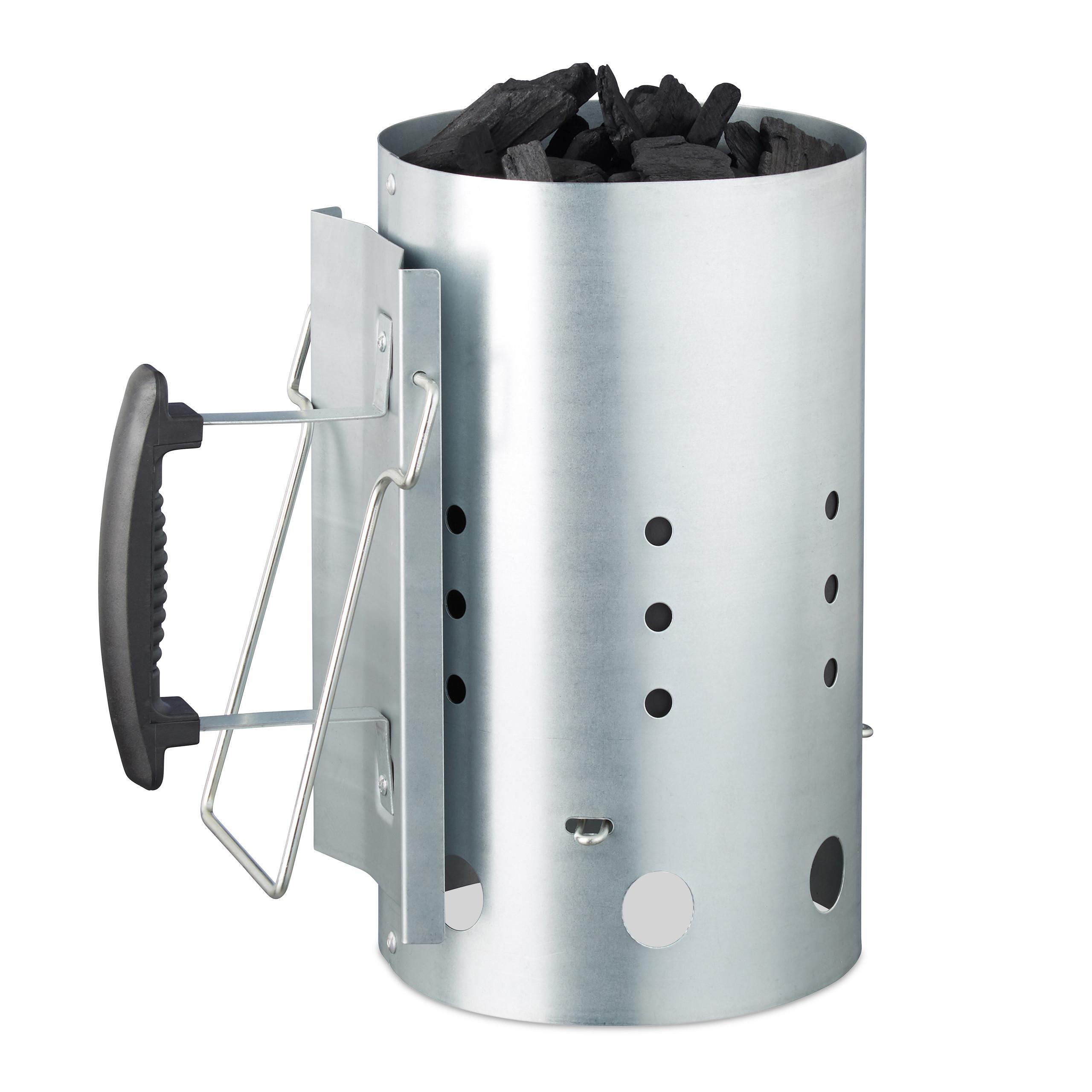 Anzündkamin XL Grillanzünder mit Sicherheitsgriff Kohlestarter Schnellanzünder