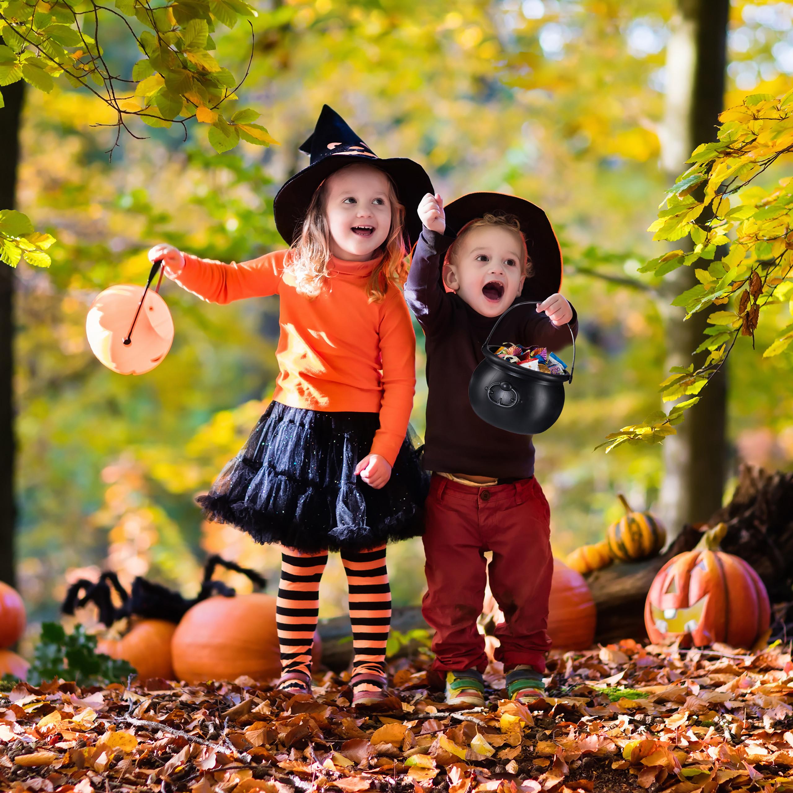 2 x Hexenkessel schwarz Feuerkessel Goldtopf Kunststoff Hexentopf Halloweeneimer