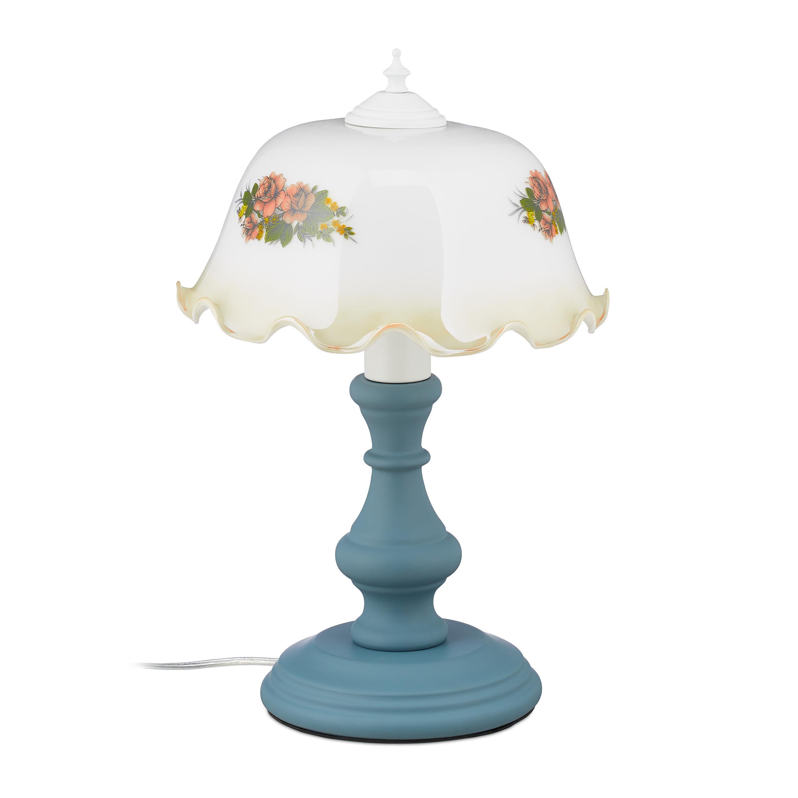 Tischlampe E27 Nachttischlampe Blumen Retro Lampe Schirmlampe Tischleuchte antik
